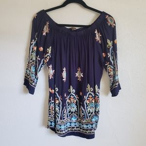Renee C Blue Embroidered Top Size S